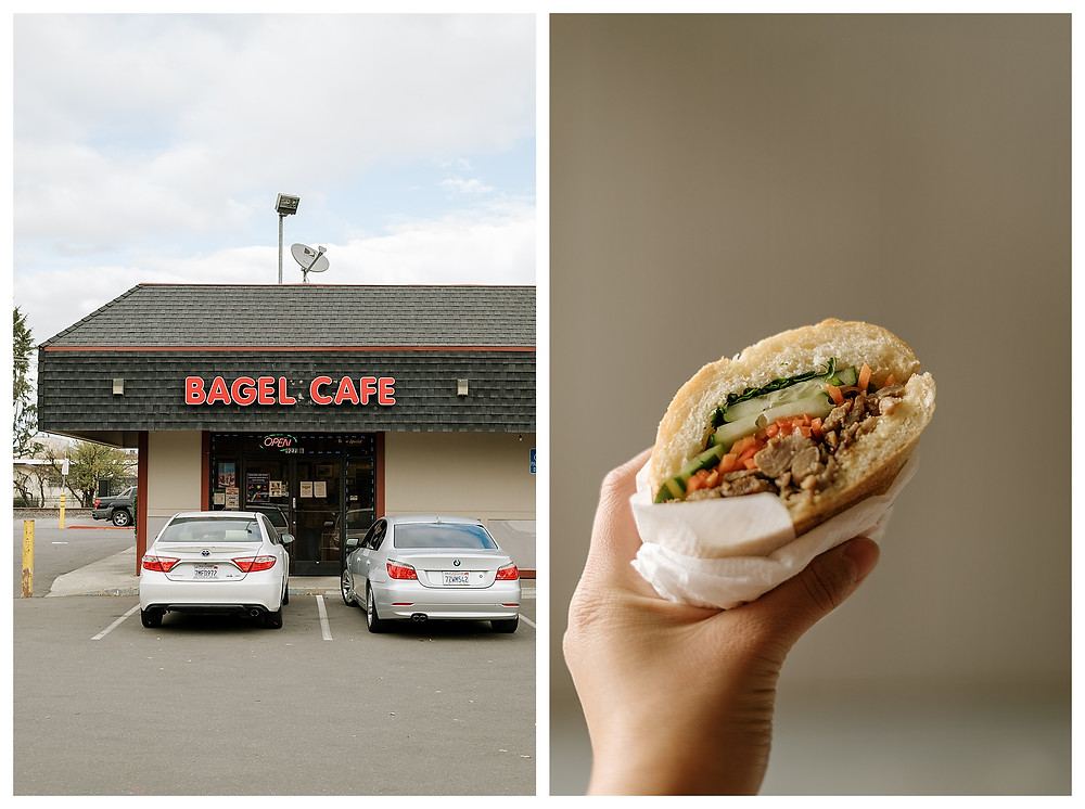 Left: The exterior of the Bagel Cafe in downtown Pleasanton, CA. The red sign cheerfully invites visitors. Right: A hand holding up a banh mi sandwich from the Bagel Cafe in downtown Pleasanton. It's a fluffy, toasted French roll rilled with pickled carrots, cucumber, and grilled pork.