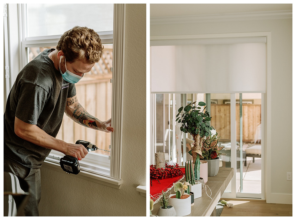 Left: A Window-ology installer drills the shutter framework into the wall. Right: Plants line the farm dining table leading to the back sliding glass door, which now has sheer white roller shades that soften the light coming through.