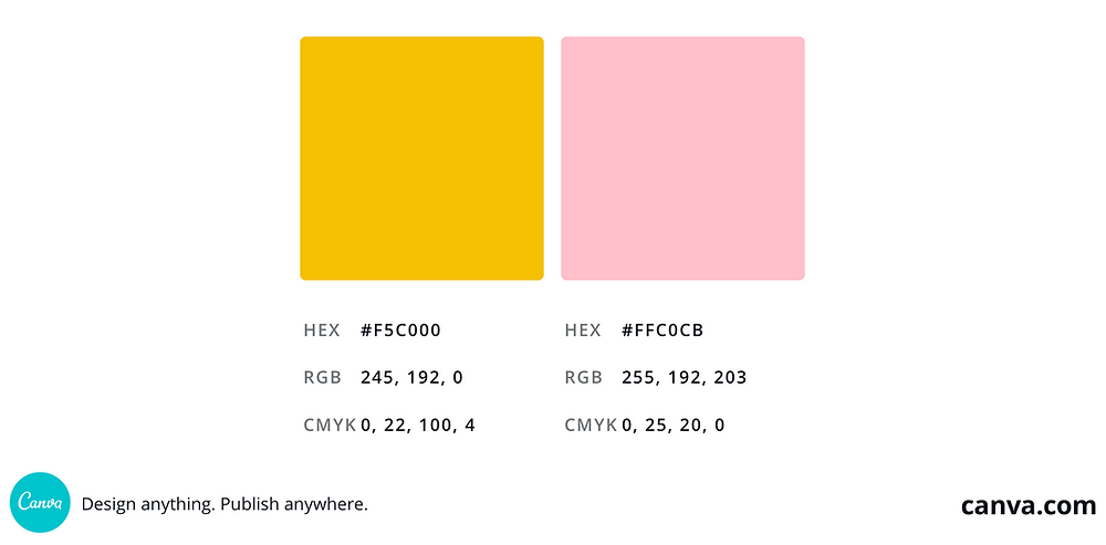 A screenshot of mustard yellow and blush/baby pink squares side-by-side to show an example of tetradic colors.