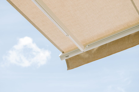 SunSetter awning with Sunbrella fabric in Silica Dune