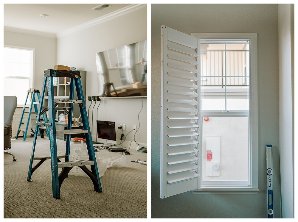 Left: A blue ladder with three steps sits in the middle of the TV room, with packaging scattered about.  Right: A shutter hangs open on a narrow window, ready for caulking and a final finish by an installer.