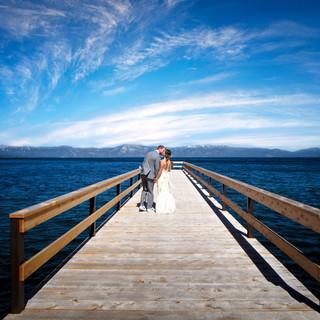 lake tahoe pier wedding photo