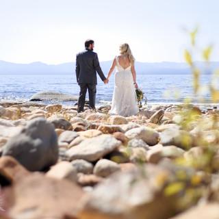 wedding on beach sand harbor