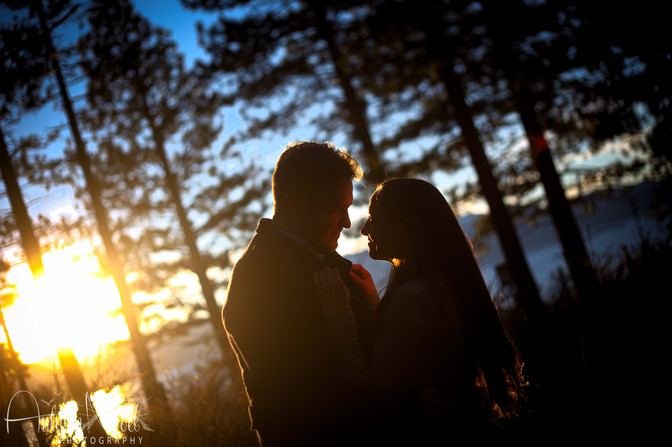 silhouette of couple tahoe