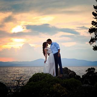 couple at sunset lake tahoe