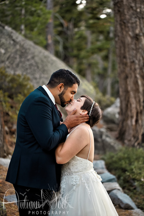 forest wedding day kiss