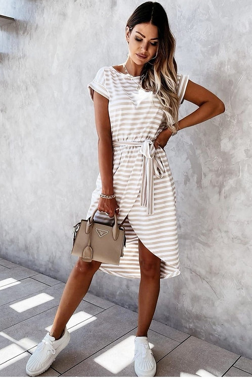 T-Shirt Kleid Stripes beige