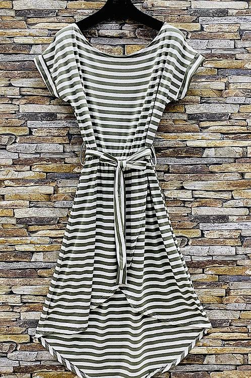 T-Shirt Kleid Stripes olive