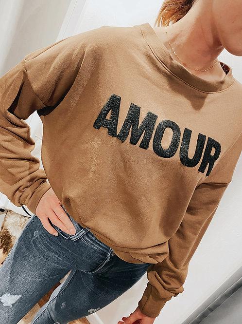 Sweatshirt Pullover AMOUR braun