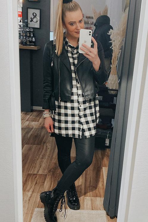 Longbluse black & white