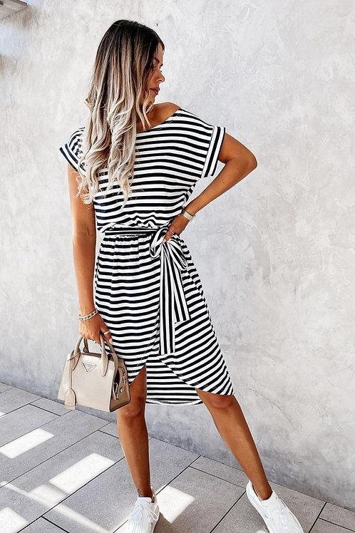 T-Shirt Kleid Stripes black