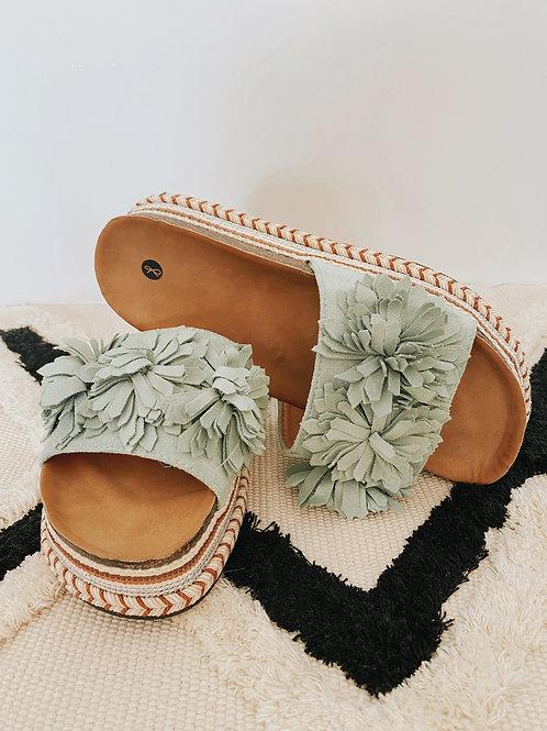 Pantolette Flowers mint