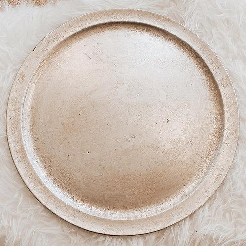 Deko Tablett Kunststoff Antik Silber