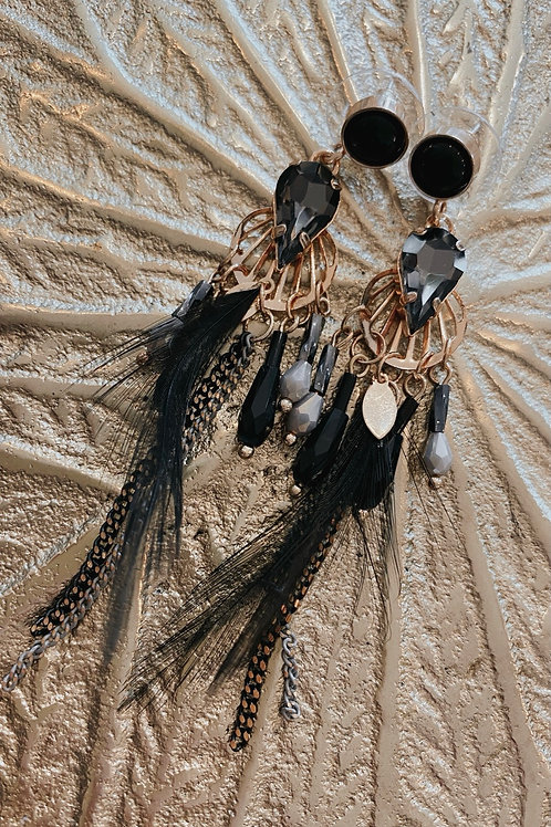 Ohrringe black Feather