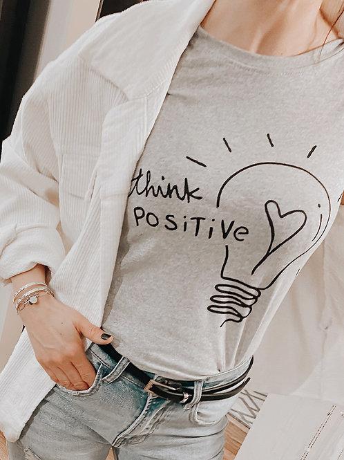 """Statementshirt """"Think Positive"""" grau"""