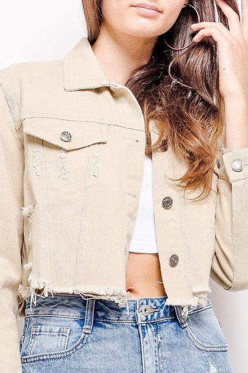 Kurze Oversize Jeansjacke beige