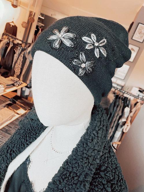 Winter Mütze Flowers black