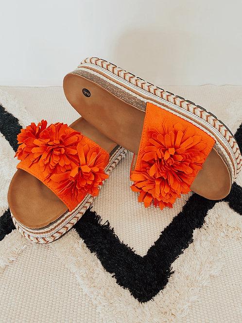 Pantolette Flowers orange