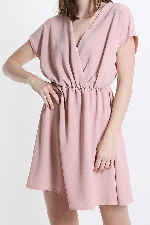 Kleid mit V-Ausschnitt rosa