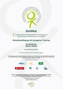 Zertifikat Stressbewältigung mit Autogenen Training