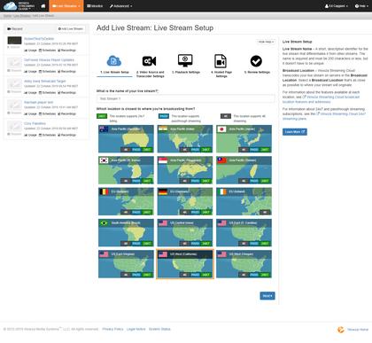 Wowza Streaming Cloud Live Stream Wizard