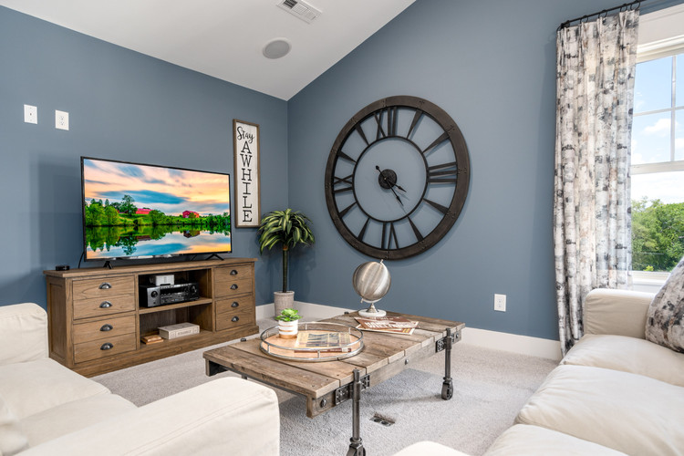 Real estate photo of blue den or family room with TV