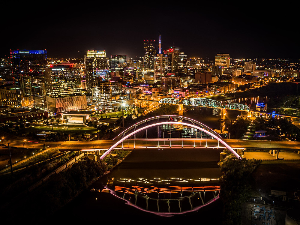 Nashville skyline at night from a drone
