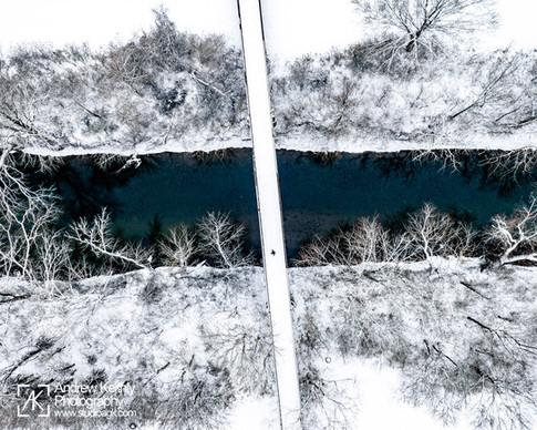 Bridge across Harpeth River covered in snow