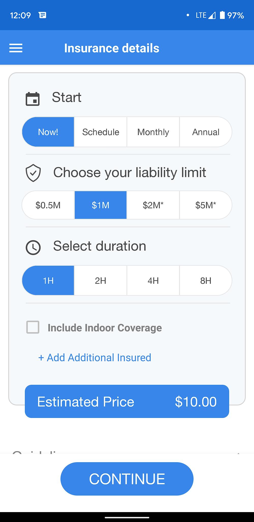 Screenshot of SkyWatch Insurance App
