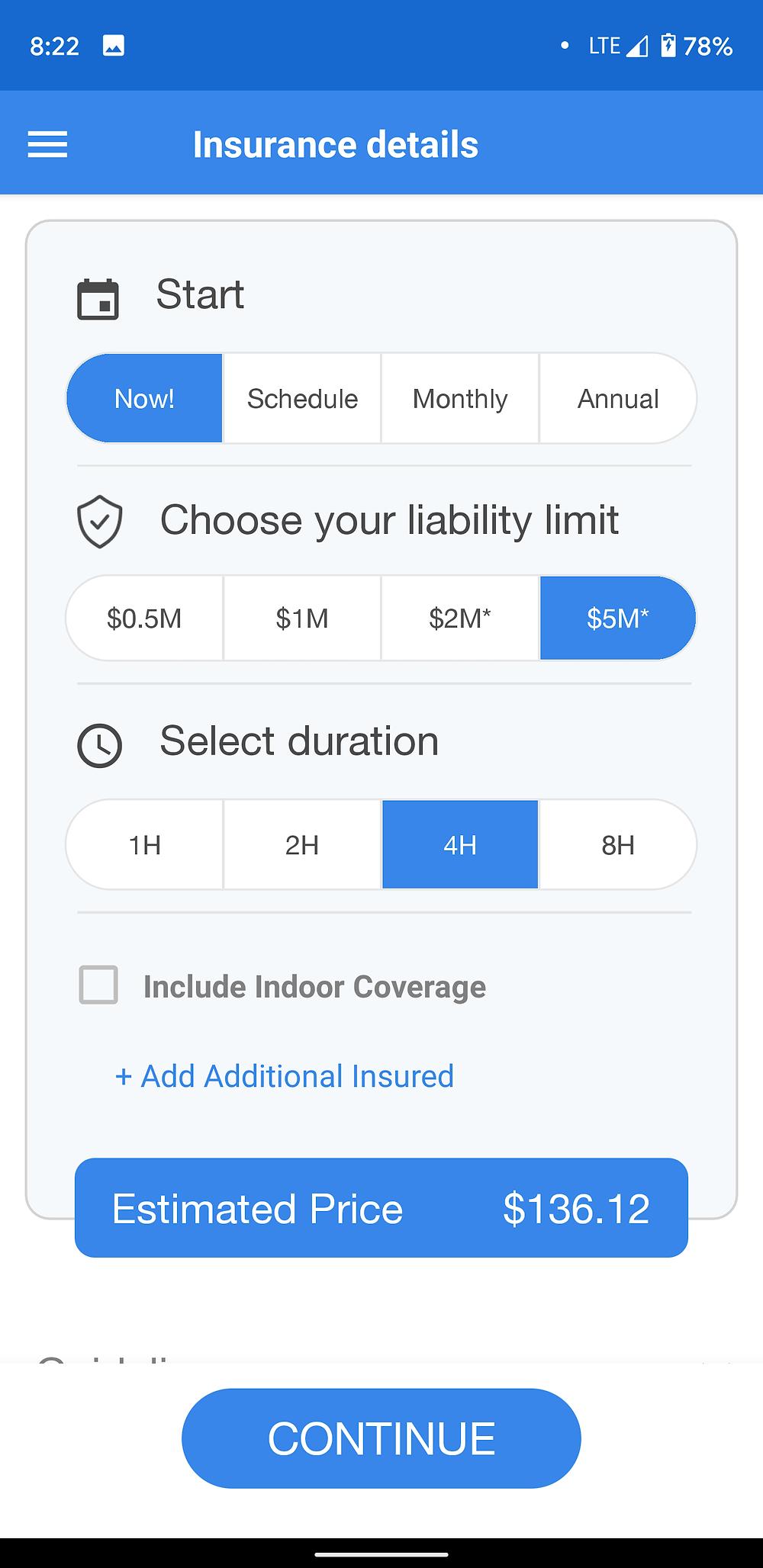 Drone Insurance App price comparison screenshot