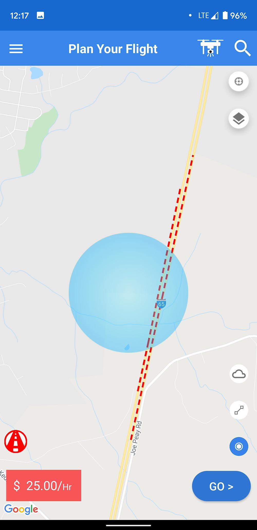 Screenshot of SkyWatch Insurance App Map