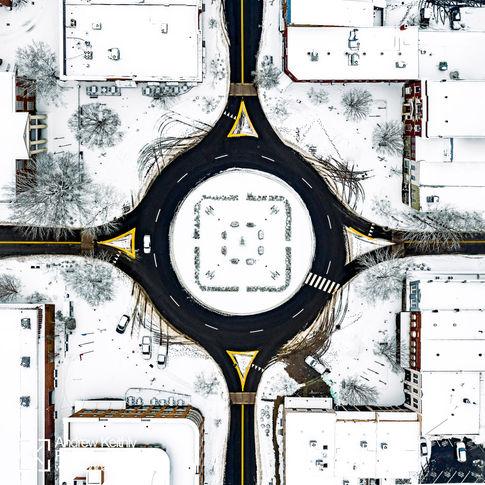 Franklin, TN square in snow