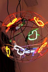 Neon Heart Ball Pendant Light