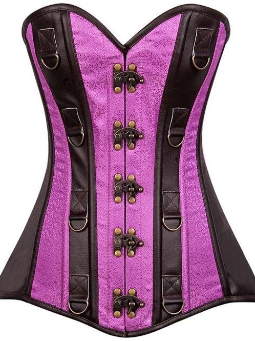 Top Drawer Dark Brown Faux Leather & Brocade Steel Boned Corset
