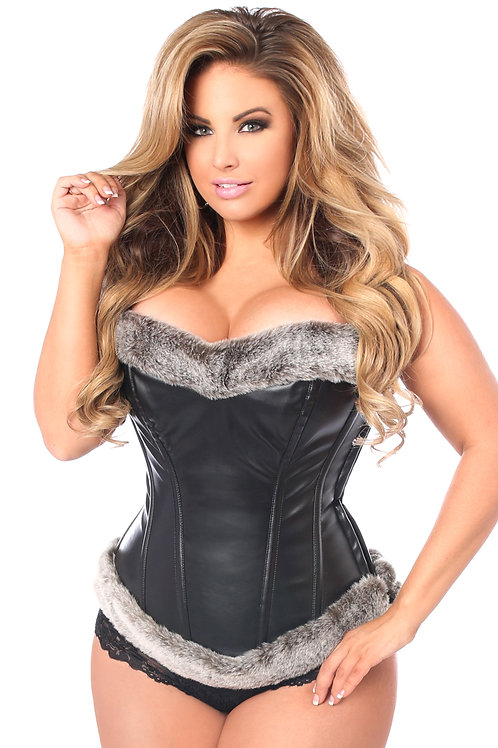 Top Drawer Steel Boned Faux Leather Fur Trimmed Corset