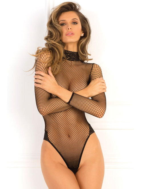 Rene Rofe High Demand Fishnet Bodysuit Black M/L