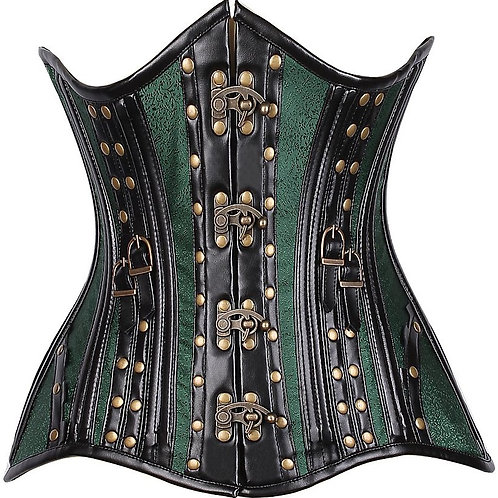 CURVY Faux Leather & Brocade Steel Boned Under Bust Corset w/Rivets