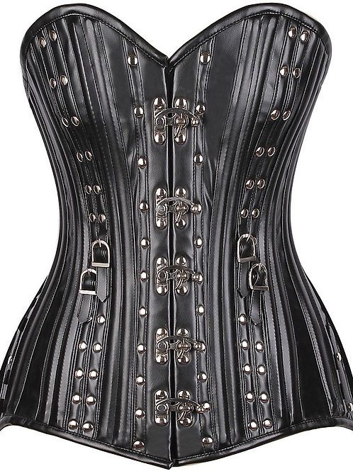 Top Drawer CURVY Faux Leather Steel Boned Corset w/Rivets