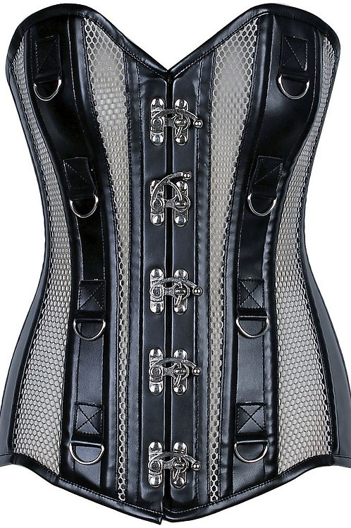 Top Drawer Faux Leather & Fishnet Steel Boned Corset
