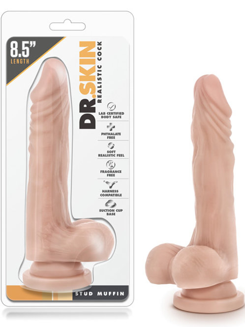 "Blush Dr. Skin Stud Muffin 8.5"" Dong w/Suction Cup - Beige"
