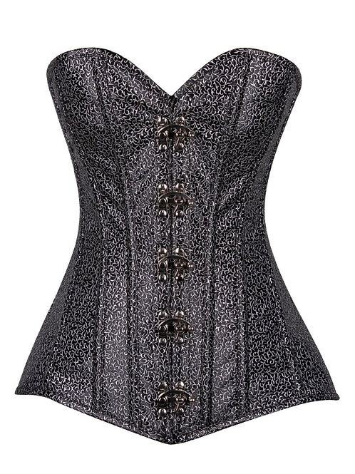 Top Drawer Black/Silver Faux Leather Steel Boned Corset w/Clasps