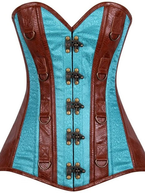 Top Drawer Faux Leather & Brocade Steel Boned Corset