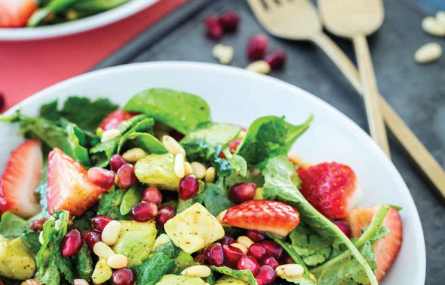 Avocado, Pomegranate & Pine Nut Salad