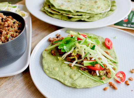 Asian Style Vegan Wraps with Mulberry Matcha Tortilla