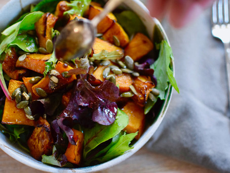 Yuzu Tamari Dressing with Roasted Pumpkin Salad (Vegan, Gluten-free)