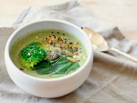 Broccoli and Spinach Creamy Miso Soup (Vegan, Gluten-free)