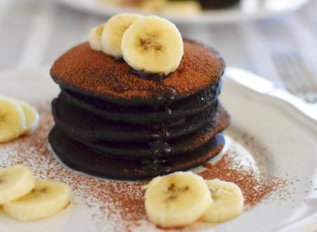 Black Sesame Flour & Cocoa Pancakes