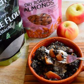 Apple Crumble with Black Sesame Flour (Vegan)