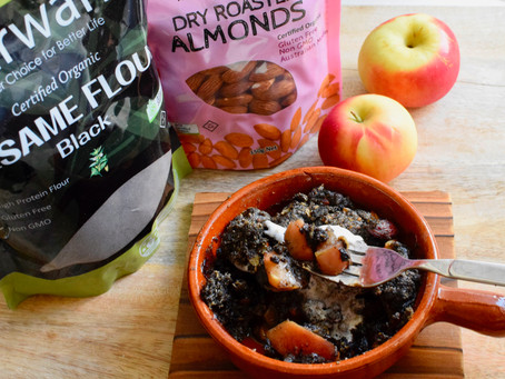 Apple Crumble with Black Sesame Flour (Vegan)