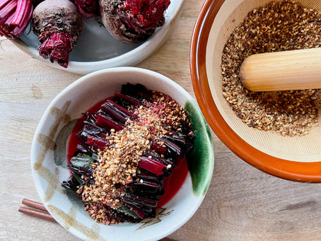 Beetroot Leaves Ohitashi with Toasted Sesame Seeds (Vegetarian)